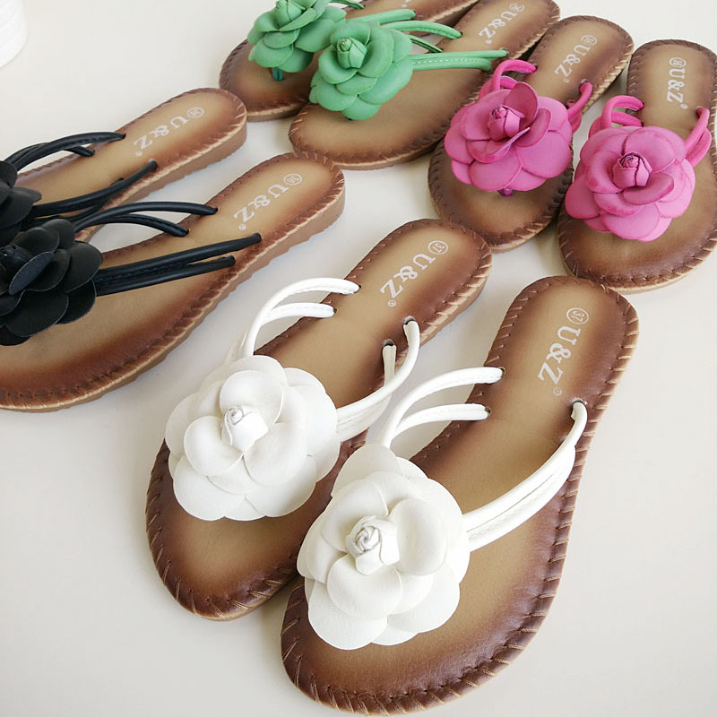 2017 Summer Shoes Fashion Flower Flip Flops Girls Casual Beach Sandals  Girls Outdoor Slippers Travel Floral Footwear ML3116<br><br>Aliexpress