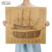 TIE LER Great Maritime Era Ancient Warship Design Drawings Vintage Posters Kraft Paper Posters Wall Stickers Mural Decoration(China)