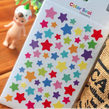 6Pcs/set Star Round Heart Print Stickers Drawing Market Diary Transparent Scrapbooking Calendar Album Decor Arts Crafts Stickers(China)