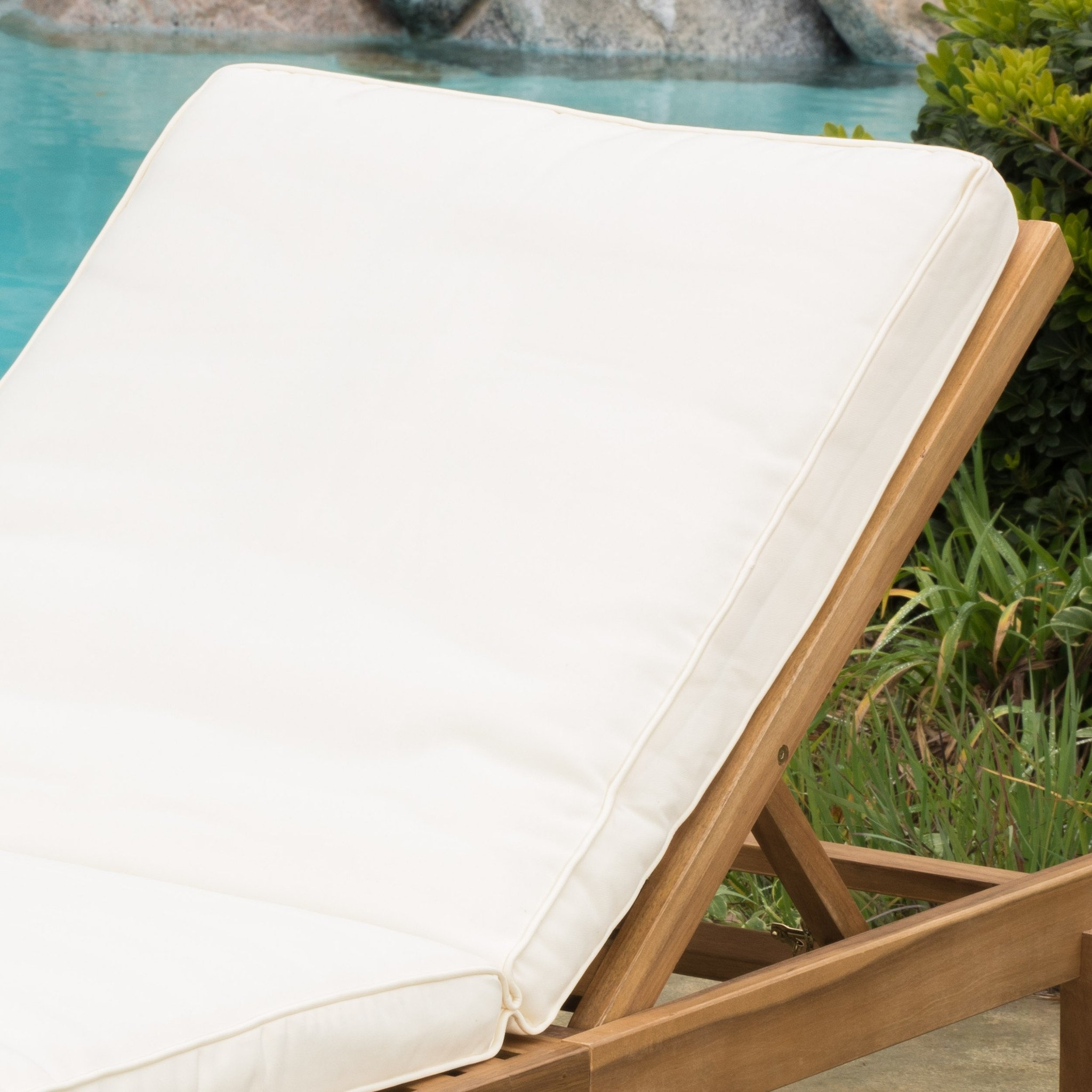 Paolo Outdoor Teak Brown Wood Chaise Lounge with Cushion (Set of 2) (1)