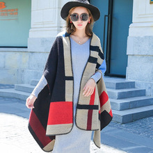Winter Cashmere Scarf Female Patchwork Poncho Scarf Women Thick Warm Shawl Large Cashmere Cloak Coat Ladies Elegant Pashmina(China)