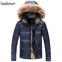 New Fashion Brand Clothing Mens Duck Down Jackets Mens High-quality Mens Winter Parka With Fur Hood Short Men Winter Coat Men(China)