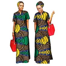 2018 african styles clothing Women Riche Bazin Straight 100% Cotton Material Free Head Scarf Lady Long Dress Maxi Size WY843(China)