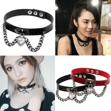 9 Colors New Arrival Punk Collar Choker Necklace Harajuku PU Leather Heart Chain Choker Punk Goth Handmade Neck Jewelry