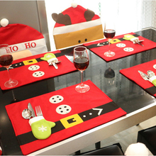 4 Piece/set Red Christmas Table Mat Flannel 45x33cm Table Pads Eco-Friendly Home Table Decoration Cute Party Festive Supply(China)