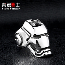 Steel soldier Big Iron Man ring Factory Cheap Titanium Unique Stainless Steel Jewelry Brazil USA popular(China)