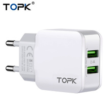 Topk 5V 2.4A Smart Travel Dual USB Charger Adapter Wall Portable EU Plug Mobile Phone Charger for iPhone Samsung Xiaomi Tablet