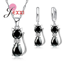 JEXXI Fast Shipping Retail Romantic Engagement Silver Cute Cat Jewelry Sets Necklace Earrings With Austrian Crystal For Women