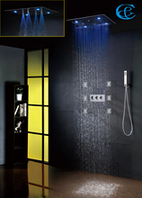 Bathroom Shower Faucet 20 Inch 100V~240V AC LED Rain Shower Head Easy-Installation Contemporary Bath & Shower Set(China)