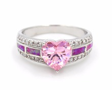 Nice Heart Shaped Pink Fire Opal rings for lady USA size 5 6 7 8 9 10 11(China)