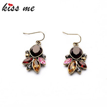 KISS ME Statement Jewelry 2016 Graceful Resin Stone Antique Gold Color Drop Earrings Accessories for Women