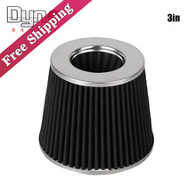 Black 3in Air Filter Flow Cold Air Intake For Universal Vehicle 155mm Height AF015
