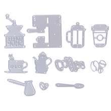 Cute 11pcs/ Set Coffee Series Pattern Cutting Dies Stencils for DIY Scrapbooking Card Album Photo Art Painting Embossing Craft