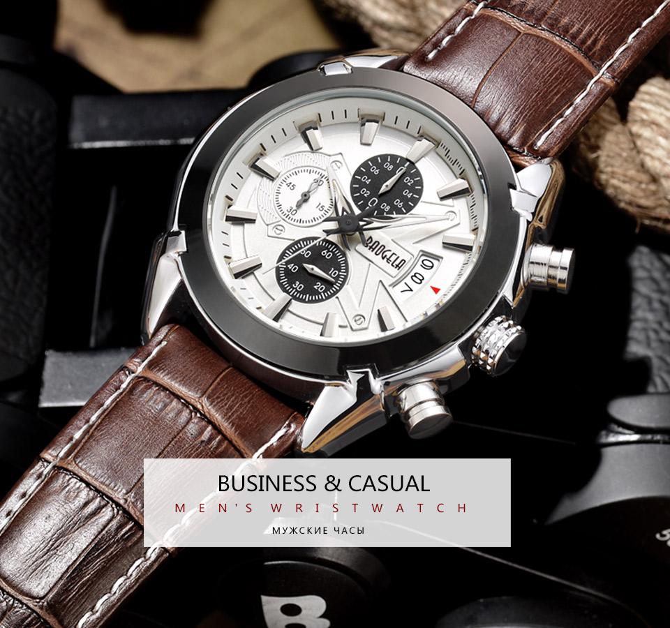 Baogela Mens Chronograph Luminous Hands Date Indicator Fashion Causal Leather Strap Sport Quartz Wrist Watches 2