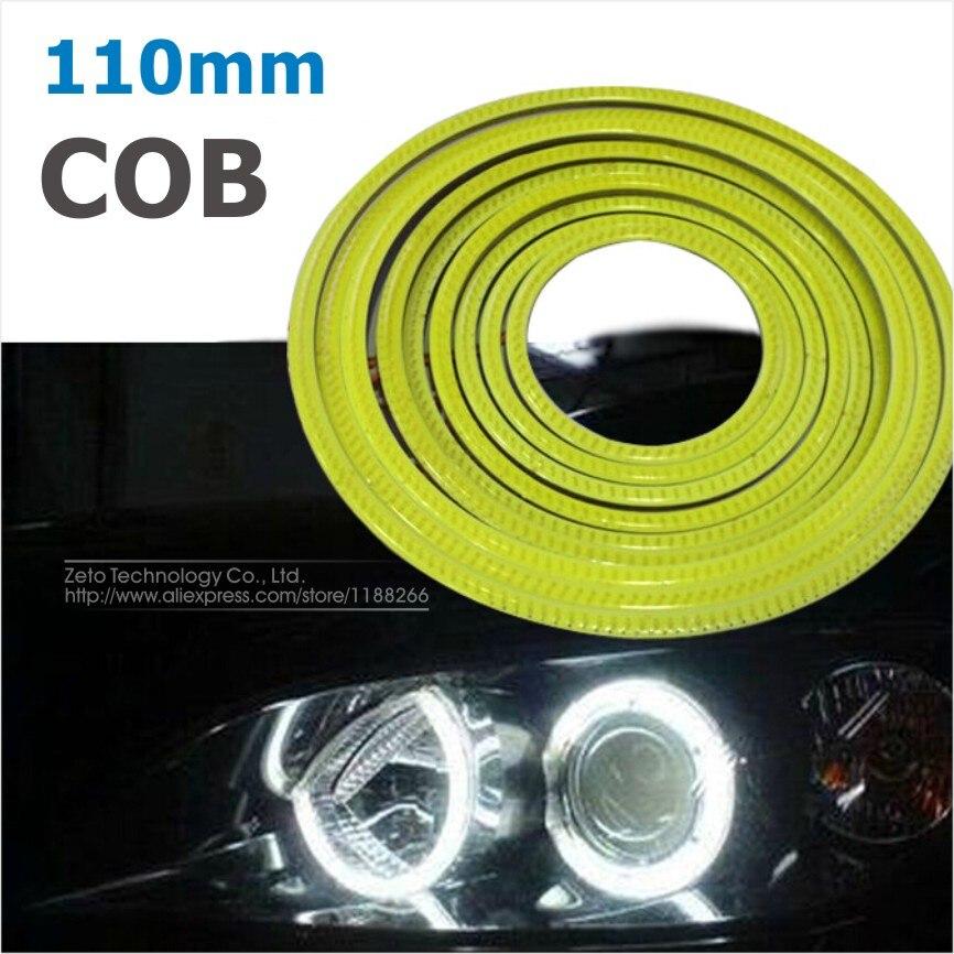 2x110mm COB Angel Eye LED Chip Car Light Super Brightness Waterproof Auto Headlight Car LED Lighting 2 COB light+2 Lampshades<br><br>Aliexpress