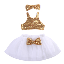 Kids Baby Girl Sequins Tanks Tops Tutu Skirts Outfits Set Party Gown Formal Dress Lovely Bow Skirt Girls Clothes