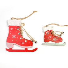 5pcs/lot New Arrival Creative Wooden Boots with Fluff Christmas Tree Pendants Bell Ski Shoes Christmas Decorations Hangings(China)