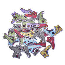 50pcs Mixed 26*17mm DIY Wooden Buttons Shoe Pattern Sewing Clothes Button For Crafts Scrapbooking Sewing Accessories Botones(China)