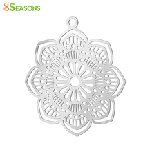 Buy 8SEASONS 304 Stainless Steel Filigree Stamping Charm Pendants Flower Silver Tone Color Hollow Carved 29mm x 27mm,20 PCs for $2.50 in AliExpress store