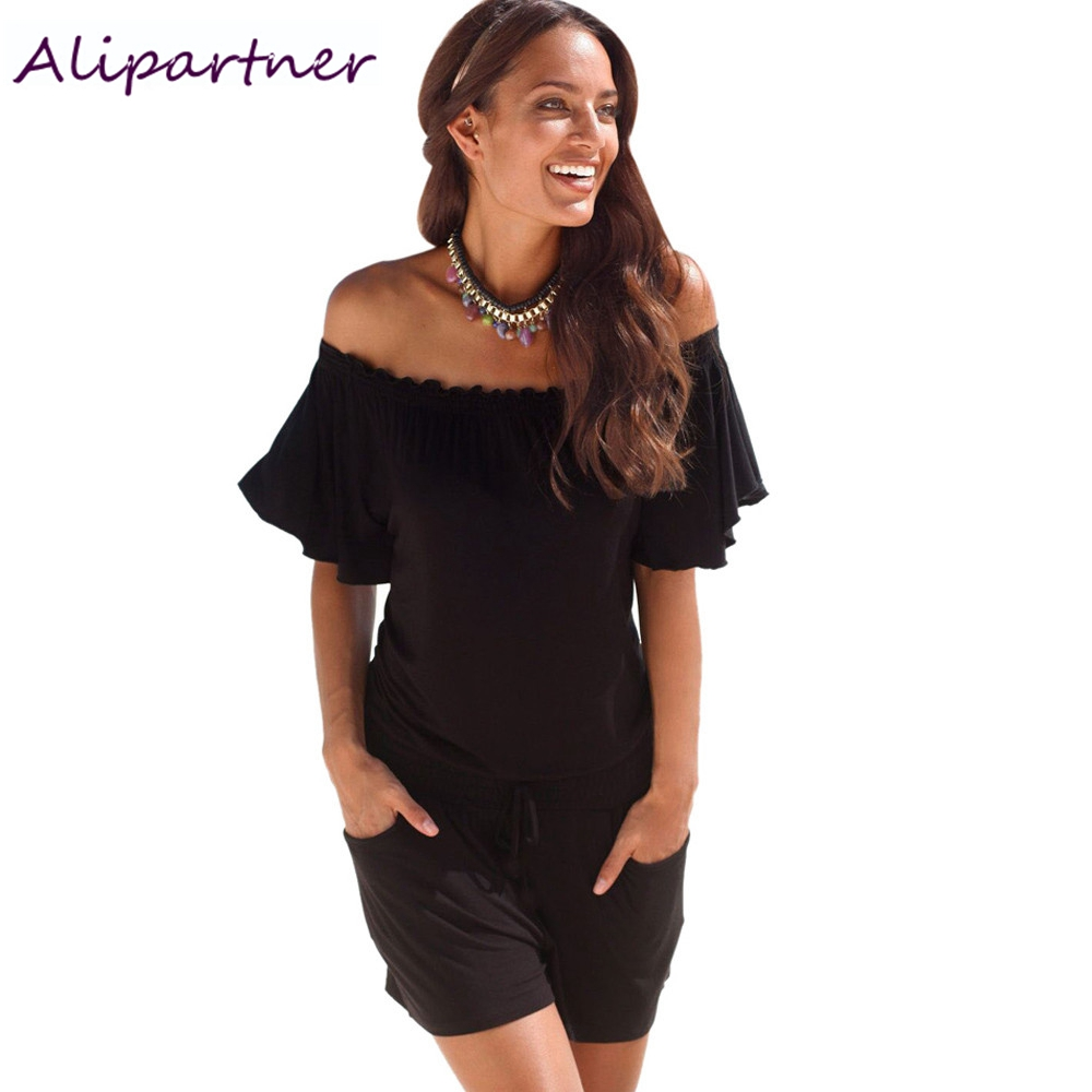 elegant jumpsuit 2017 casual rompers Women overalls summer solid Off shoulder   Playsuit Bodycon Clubwear B2