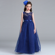 Retail Lace Chiffon Elegant High Quality Girls Evening Prom Dress With Belt Heart Neck Girls Summer Wedding Dress Lace006(China)