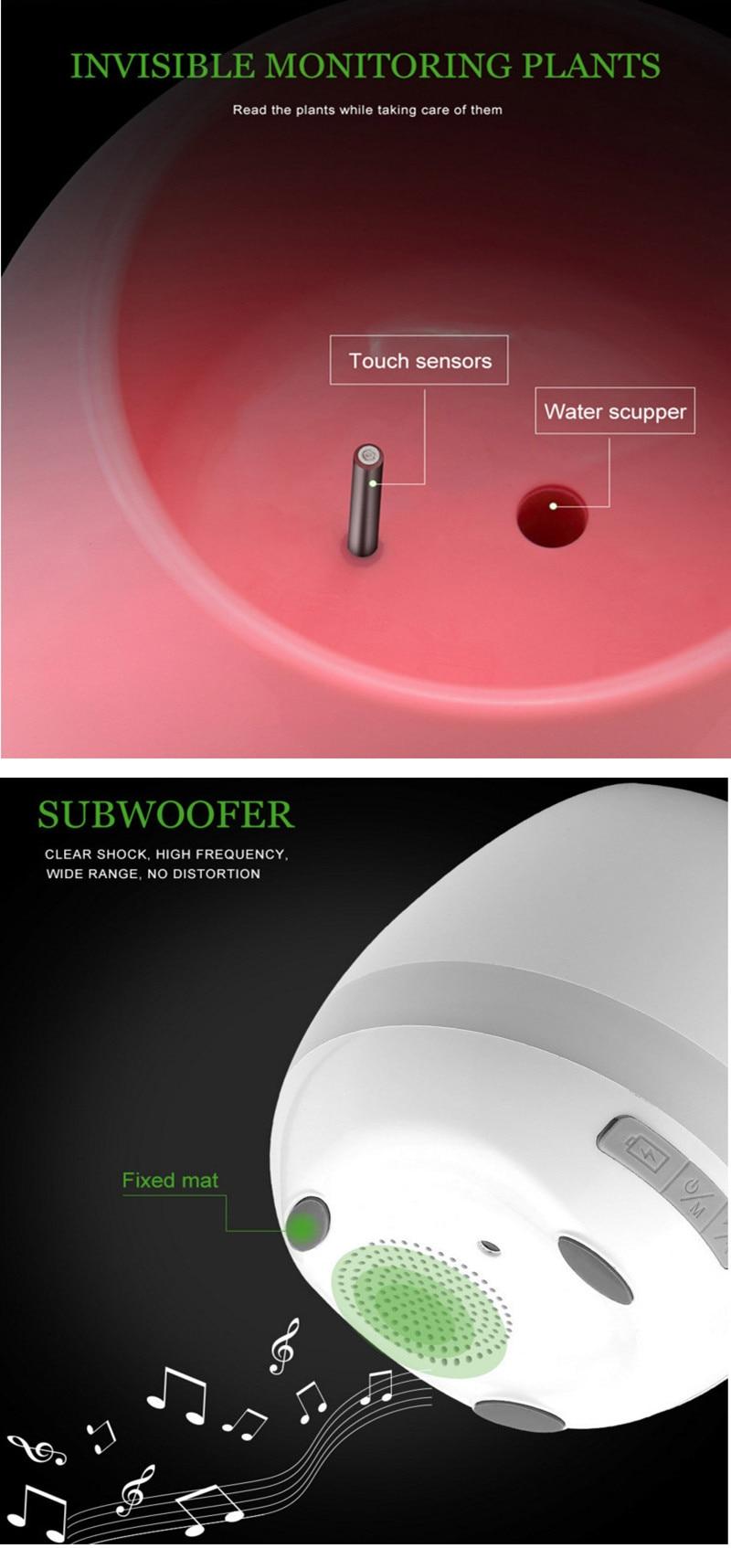 Smart Waterproof Indoor Bluetooth Music Speakers Planter Flower Vase and LED Lights Music Flower Pot