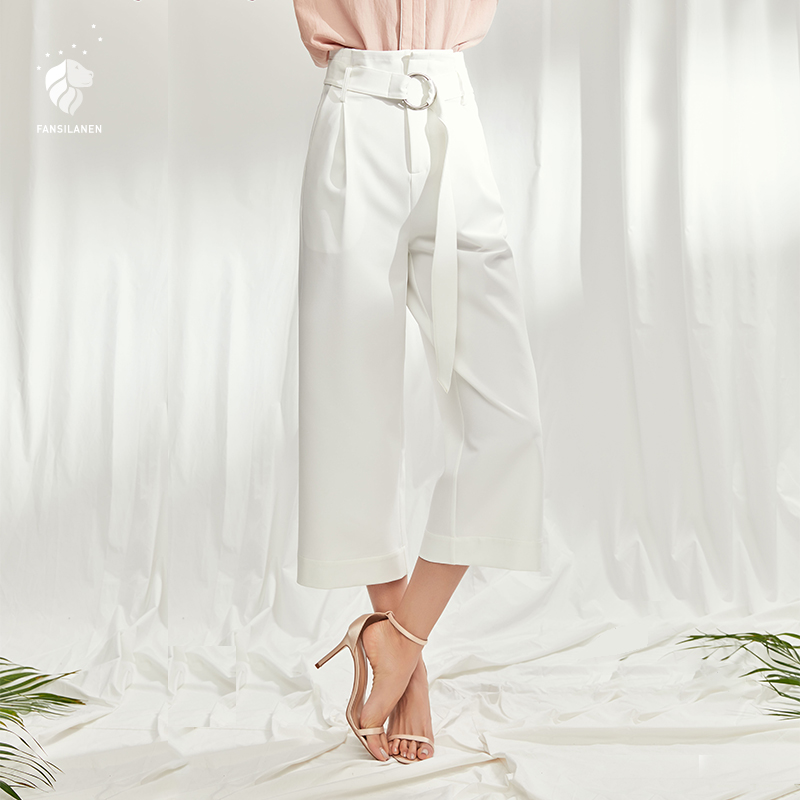 FANSILANEN 2019 Fashion New Arrival Summer/Spring Women Loose Work Office Laddy Waist Wide Leg Solid White Z82485