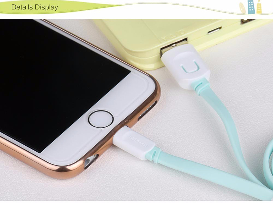 For IPhone Cable IOS 11 10 9 USAMS 2.1A Fast Charging 0.25m 1m 1.5m Flat Usb Charger Cable For iPhone 8 7 i6 iPhone 6 6s X Cable 17