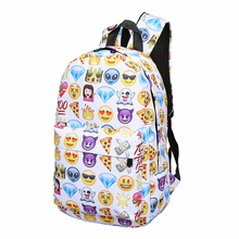 Lovely 3D Printing Backpack Women Cute 3D Smiley Emoji Face Print Nylon Backpack Travel School Bags for Teenage Girls Mochila(China)