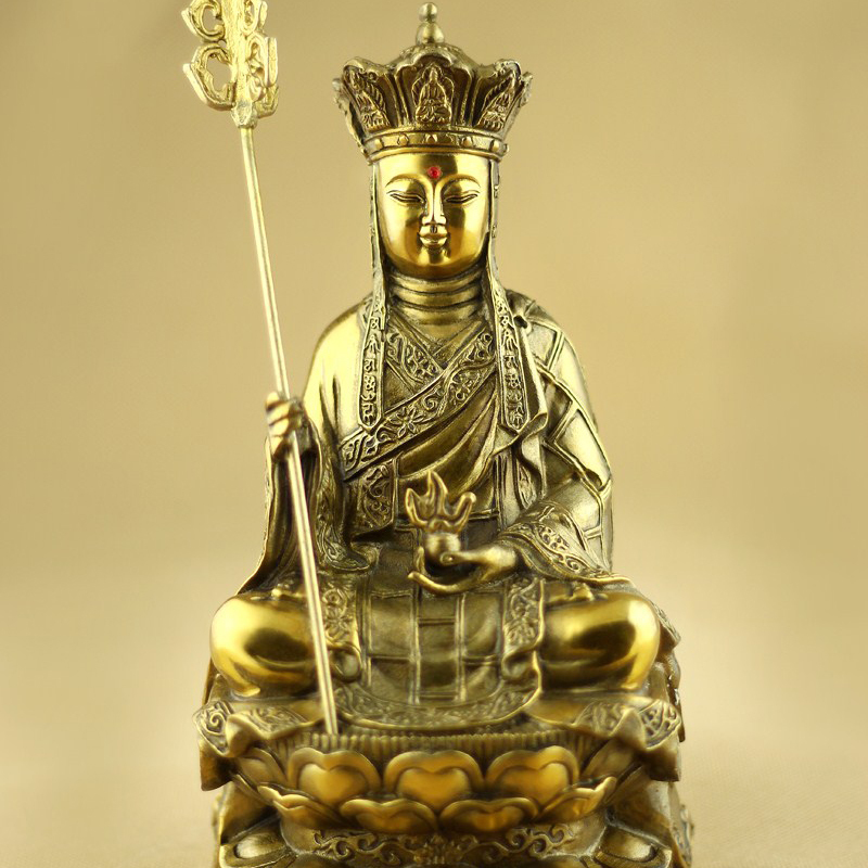 Mount Jiuhua monk, pure copper Buddha Ksitigarbha Bodhisattva statue, opening the light, Buddhist supplies, Buddha figure~(China)