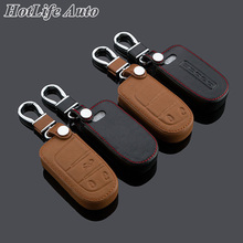 Genuine Leather Keychain Car Key Case Cover for Dodge Journey JCUV 2013 2014 2015 Smart Remote Key Chain Auto Styling Accessory