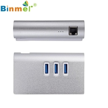 Del Aluminum Gigabit NIC Ethernet LAN Network 3 Port USB 3.0 RJ45 HUB for iPad and Windows Mar08