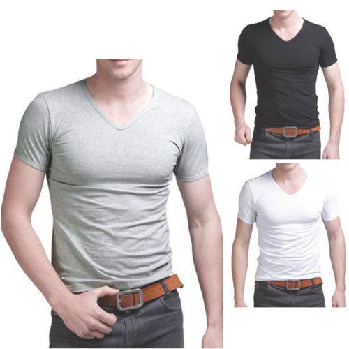 Mens-T-shirt-Cotton-Plain-Short-Sleeves-Preshrunk-Casual-Shirt-TopsTee