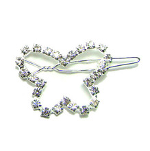 New 30x25mm fancy rhinestone butterfly charm new hinge clip hair barrette wedding ornament jewelry accessory 1DZx free shipping