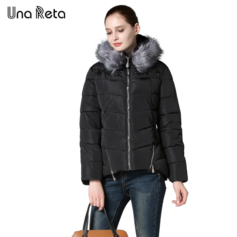 Una Reta Womens jacket Winter New Coat Faux Fur Collar Hooded Coat Slim warm High quality Cotton Jacket Longsleeve Women ParkasÎäåæäà è àêñåññóàðû<br><br>