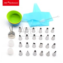 35PCS Design Cake Icing Piping Nozzles Tips Coupler Adapter Pastry Bag Silicone Icing bag Cake Tools Silicone Cupcake Cups Brush