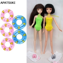 Dolls Accessories 5pcs Swimming Buoy Lifebelt Ring For Barbie Doll & 2pcs Sexy Swimwear For Barbie Dollhouse Baby Girl Toys(China)