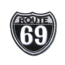 2Pcs Biker Vest Jacket Cloth Patches ROUTE 69 Mark HARLEY RIDER DIY Parts Loco Motive Embroidery Patches