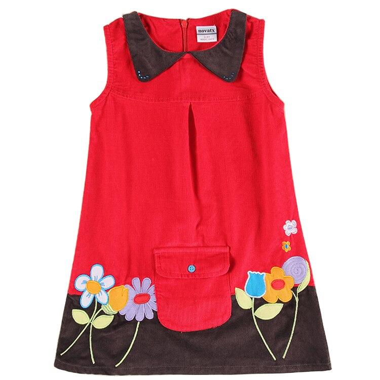 Girl winter sleeveless dress children corduroy dresses embroidery flowers dress for girls nova kids wear<br><br>Aliexpress