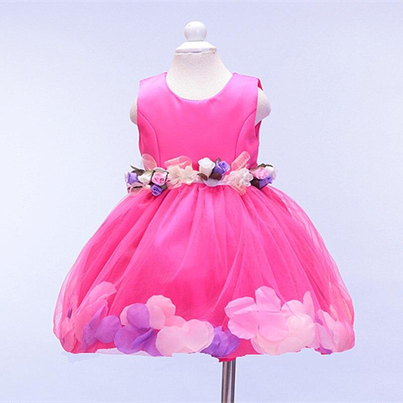 summer girl a birthday  Girls Princess Dress girls dress  belt flower petals Rose Princess Dress YXX<br>