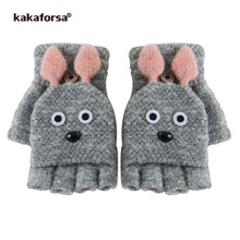 Kakaforsa Cute Rabbit Fingerless Gloves Winter Lovely Animal Knitted Mittens for Girls Students Women Warm Thick Knit Glove(China)
