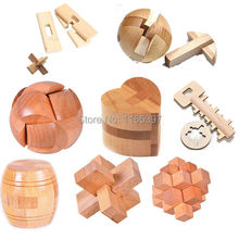 Freeship 8pc children kids Wooden Chinese traditional intelligent puzzle LUBAN lock toys adults teenage mind game competition