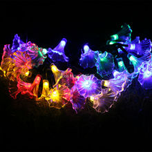 Battery Powered 8 Mode 6M 30LED Trumpet Flower Shaped LED String Lights Waterproof Holiday Fairy Rope Lights with Remote Control(China)