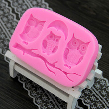 High Quality Cute Fondant Decoration Mold Cake Cooking Tools Owl And Tree Branch Design DIY Silicone 3D Cake Mold 1Pcs
