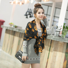 2017 High Quality New Style Women's Long Silk Scarf chiffon scarves Velvet Chiffon Printed skull Scarf Shawl Wholesale RKU