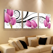 3 piece canvas art Purple flower canvas print oil painting wall pictures for living room paintings cuadros decorativos no frames(China)