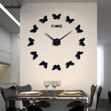 muhsein New DIY Wall Clock Fashion 3D Super Big size Mirror wall sticker Clock Home Decoration Butterfly styling Free Shipping()