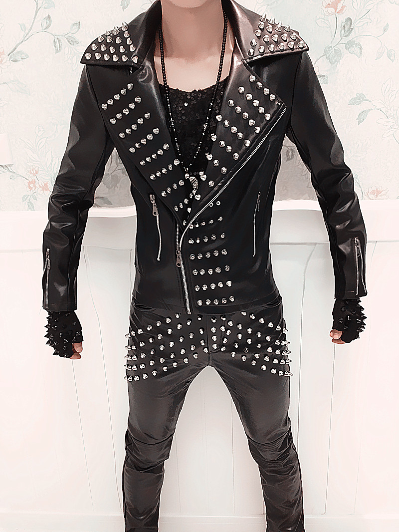 Punk Band Men Male Singer Dj Jacket Cost Costume Fashion Personality Rivet Leather Motorcycle Clothing Leather Pants Outfit