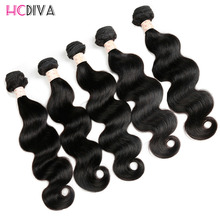 Body Wave Indian Virgin Hair 5 Pcs / Lot Color 1b Natural Black Real Raw Human Hair Body  Wave Unoprcessed Remy Hair Extensions