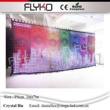 Flyko durable foldable led video display wall led curtain easy to carry p90mm 3x7m